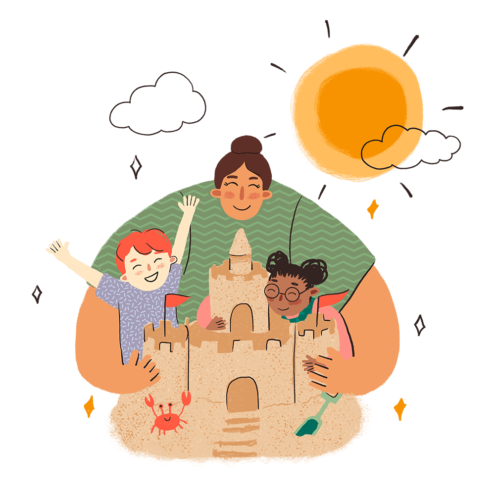 Woman Hugging Children andSand Castle